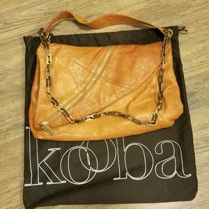 Kooba Brown Tan Leather Bag w/ Chain Strap